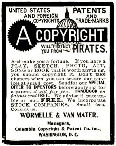 Copyright advertisement from the New York Clipper, 1906. Library of Congress