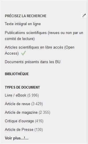 """La facette """"Bibliothèque"""" est repliée"""