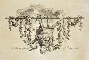 Alessandro Tassoni. Tomo primo.- Paris : Laurent Prault et Pierre Durand, 1766 (Poitiers, Bibliothèques universitaires, Fonds ancien, 33611-01, cul-de-lampe du chant I)