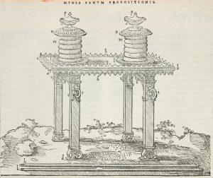 Table des pains de proposition. Dans : Biblia.- Paris : Robert Estienne, 1546 (Poitiers, Bibliothèques universitaires, Fonds ancien, XVIg 1340)
