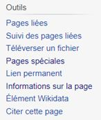 Menu de gauche de l'article