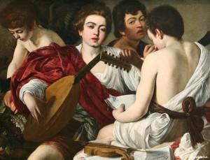 Caravage (1571-1610),  Concert, v. 1595,  huile sur toile, 92 x 118, 5 cm,  The Metropolitan Museum of Art, New York.