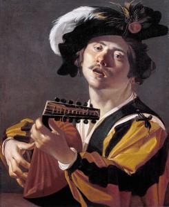 Dirck van Baburen (ca. 1595-1624),  Le joueur de luth, 1622,  huile sur toile, 71 x 58cm,  Centraal Museum, Utrecht.