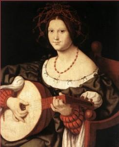 Andrea Solari (Italie, ca.1460-1525) La joueuse de luth (ca. 1510-1511) Huile sur bois. Galleria Nazionale d'Arte Antica.