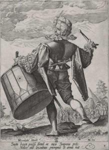Jacob de Gheyn, Tambour, d'après Hendrik Goltzius,  Burin 21,4 x 15,7 cm IIe état édité par Assuerus van Londerseel Legs Wittert (1903).