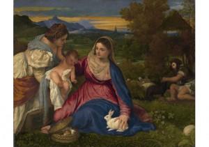 Titien (1480-1576), La Madone au lapin, 1530, huile sur toile,  71 x 87 cm, Louvre, Paris.