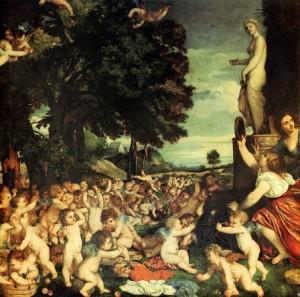 Titien, L'Offrande à Vénus, 1518-1519, huile sur toile,  172 x 175 cm, Museo Nacional del Prado, Madrid.